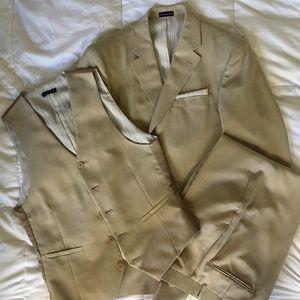 3 piece suit, khaki